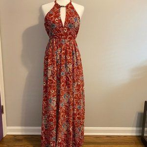 Aakaa Beautiful Red Floral Maxi S